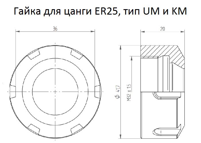 Гайка для цанги ER25, тип UMM